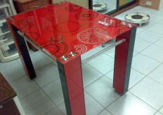 Стол красный узор Стеклянный
